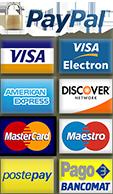 loghi di carte di credito, debito e paypal